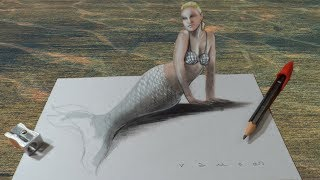Drawing Awesome Mermaid - 3D Illusion on the Paper - VamosART