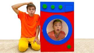 Nastya and Artem pretend play with toy washing machine