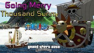 "GTA Barcos Going Merry e Thousand Sunny ""Dirigíveis"" de Luffy One Piece Vídeo in 4K"