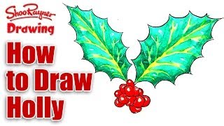 How to draw Christmas holly