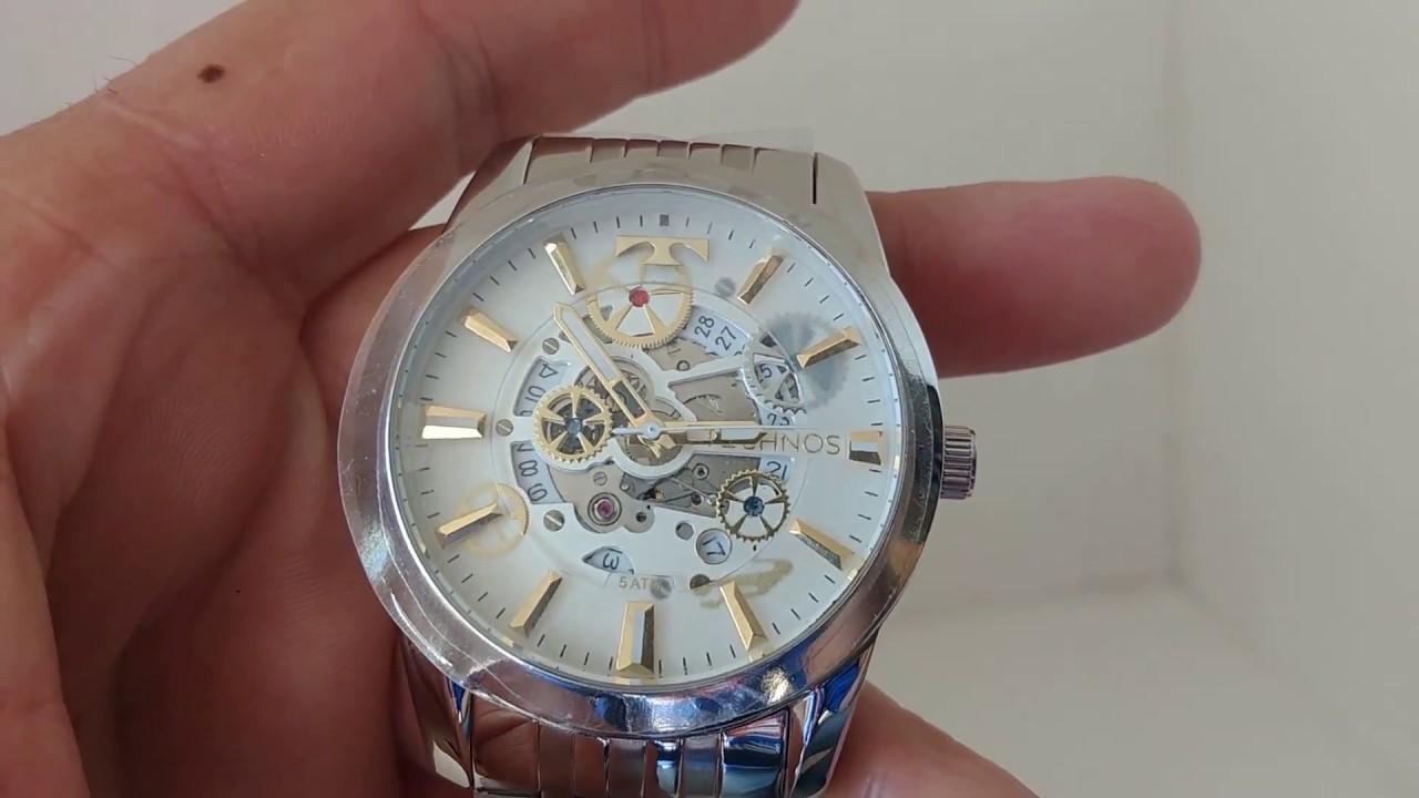 4c52280ff185e Relógio Masculino Technos 8205NR 1K Automático Prata - YouTube