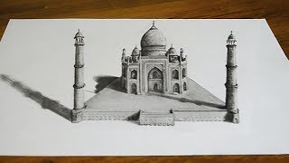 тадж Махал 3D Рисунок карандашом Иллюзия на бумаге 3D  Drawing Taj Mahal  Trick Art on Paper