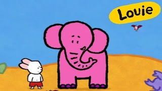 Cartoon for kids - Louie draw me an Elephant HD | Learn to draw