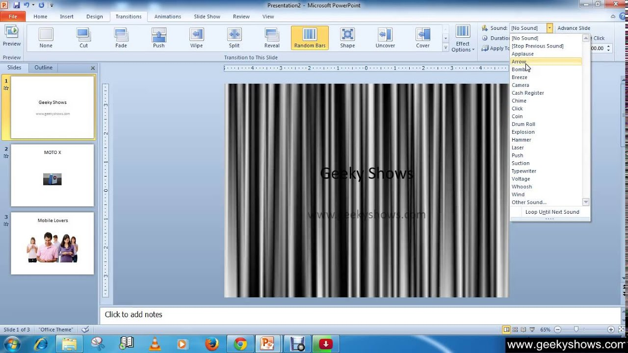 how to add sound effects to powerpoint 2010