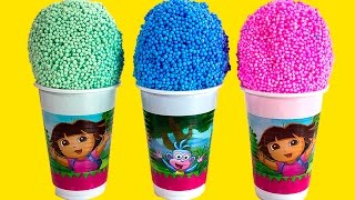 Dora the explorer Foam clay Surprise Eggs Ice Cream cups Disney Princess Angry birds Spongebob