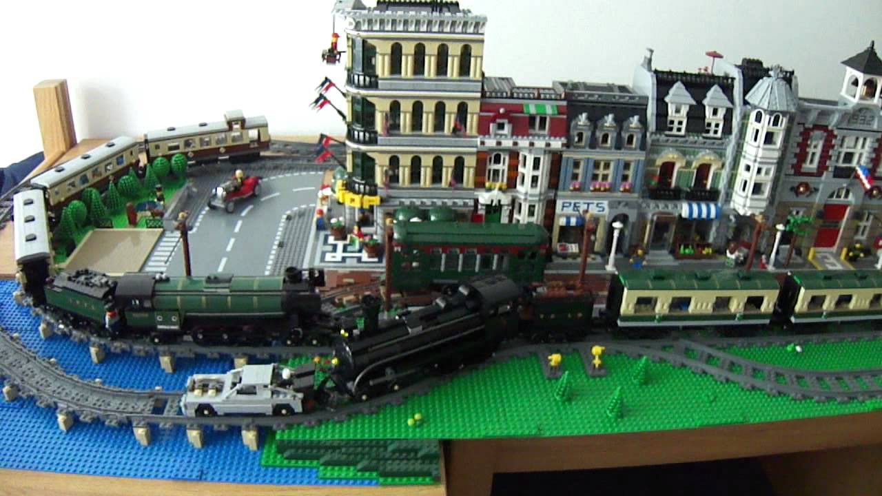 Lego Back To The Future Iii Delorean Being Push By Train