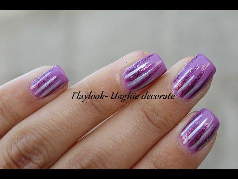 Video tutorial 158 Nail art lilla,viola e argento UNGHIE CORTE , By  Flaylook