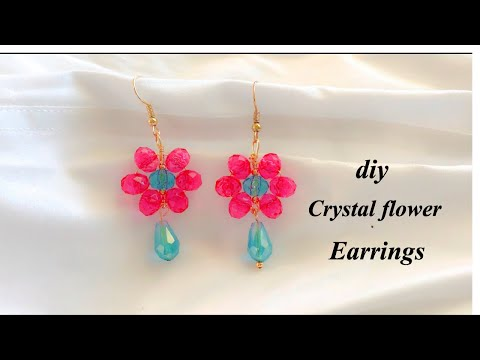 How to make Beautiful Flower Earrings Using Crystals/Making Designer Earrings At Home/diy earrings