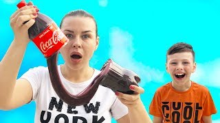 ALİ KOLADAN SLİME YAPTI Kids Made Coca Cola Slime, Funny video for children