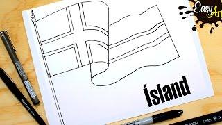 how to draw the flag of Iceland /hvernig á að teikna fána Íslands /Lýðveldið Ísland