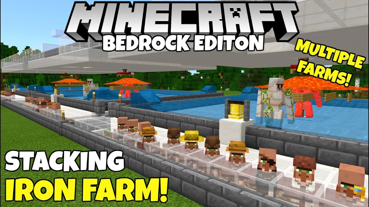 Minecraft Bedrock: Working Stacked IRON FARM! Multiple Iron Farms In One!  Village And Pillage Update