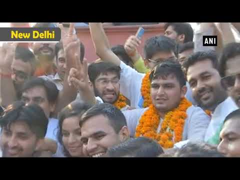 NSUI celebrates outside 10 Janpath after historic victory in DUSU elections - ANI News