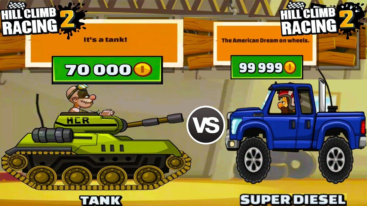 Hill Climb Racing 2 - New Vehicle Tank Unlocked vs Super Diesel The American Dream On Wheels