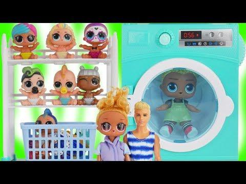 Fake LOL Barbie Doll Washing Clothes in Washing Machine Playset   #HAIRGOALS Series 5 Surprise Dolls