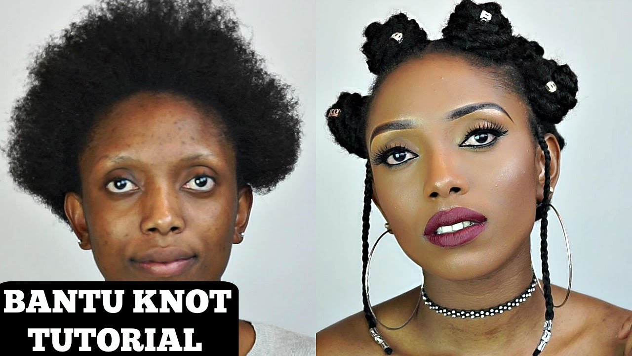 Natural Hair Styles Bantu Knots: How To Bantu Knot Tutorial With Extension On Short Natural