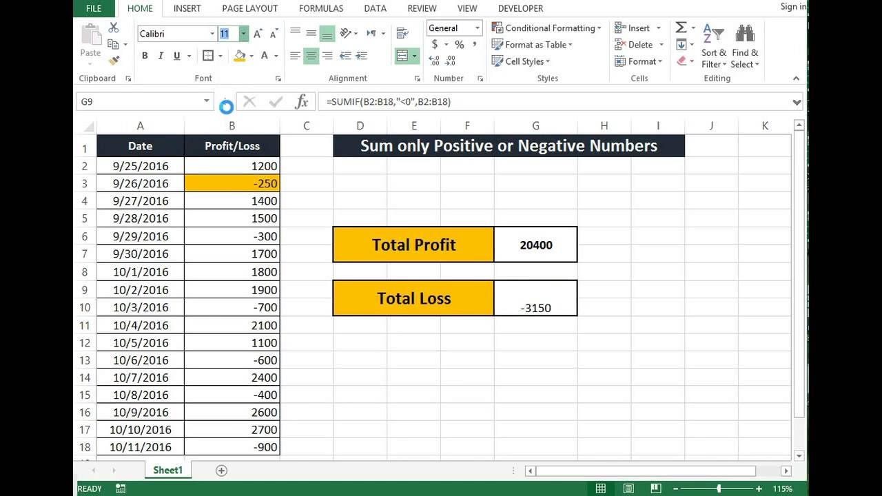 How to make an excel column negative - How To Sum Only Positive Numbers Or Only Negative Numbers In Excel 2013 Youtube