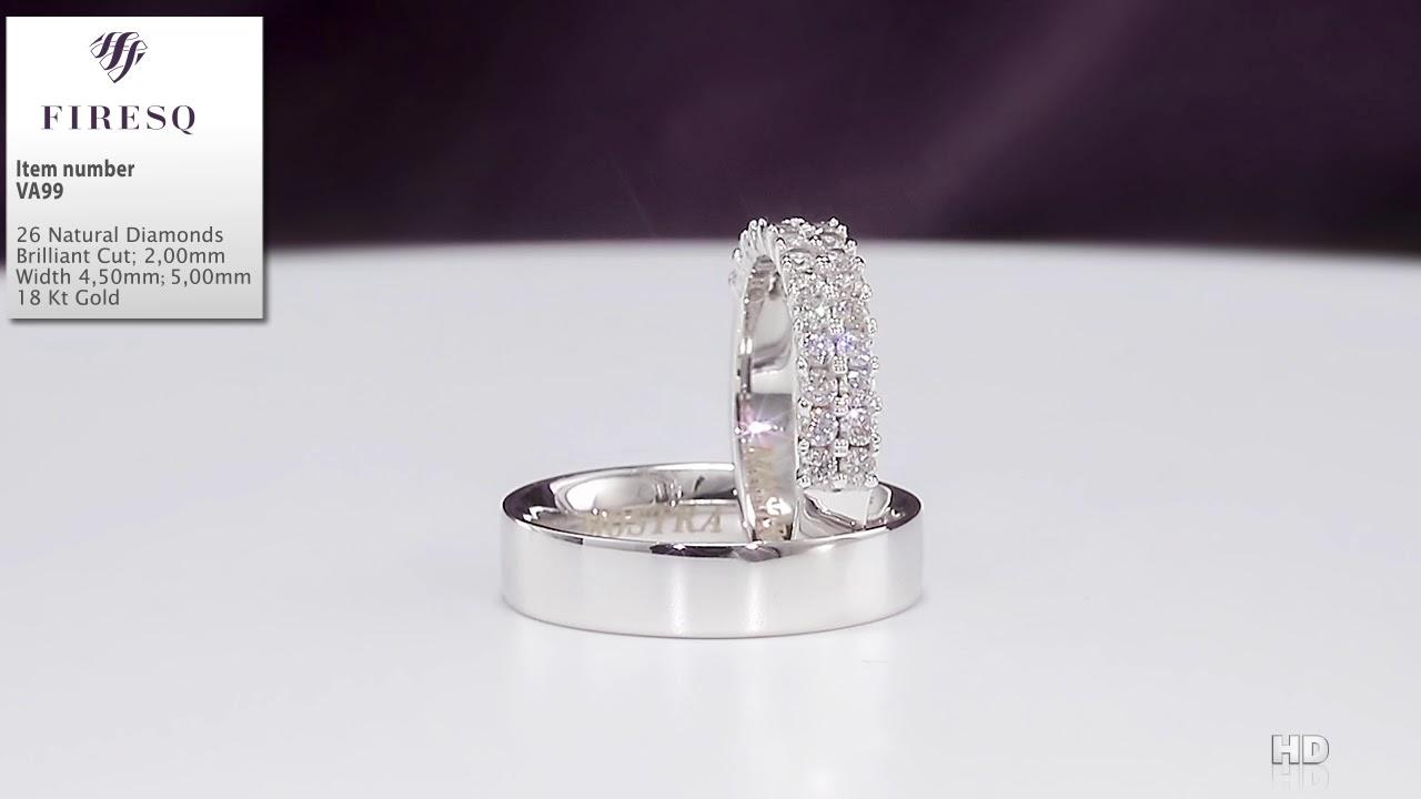 Verighete Firesq Din Aur Alb De 18kt Cu Diamante Cod Va99 Youtube