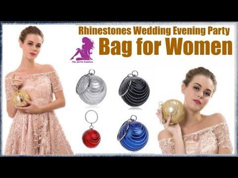 SEKUSA Circular Tassel Rhinestones Diamonds Meta Wedding Evening Party Handbags for Women