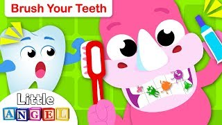 Brush Your Teeth with Baby Rhino | Healthy Habit Songs for Children | Nursery Rhymes by Little Angel