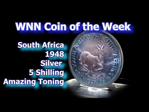 Coin of the Week: South African 1948 Toned Silver 5 Shilling, km40.1