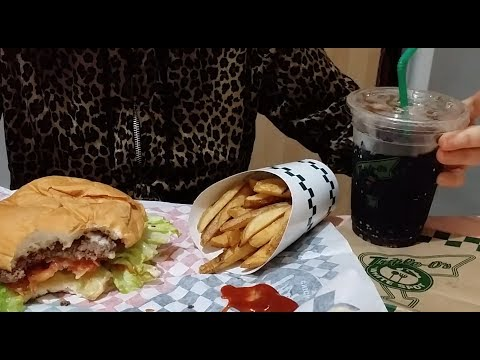 TripleO's Burger & Fries | DIET Coke : ASMR / Mukbang ( Eating Sounds )