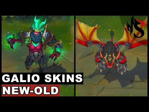 All Galio Skins New and Old Texture Comparison - Champion Rework 2017 (League of Legends)