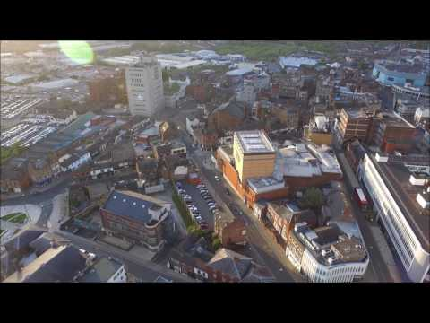 Aerial Drone Footage Hanley, Stoke on Trent, UK. 27th April 2017 Practise Flight.