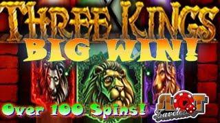 ** Big Win ** Max Bet Three Kings Slot Machine Bonus | Green Lion Wins! | SlotTraveler