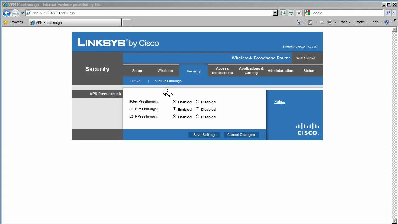 Linksys WRT160N VPN passthrough