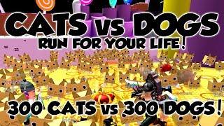 300 Cats vs 300 Dogs!?! Crazy Cat Lady! Roblox Pet Simulator