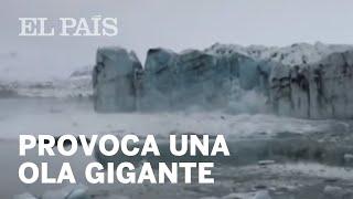 La caída de parte de un glaciar crea una ola gigante en un lago de Islandia