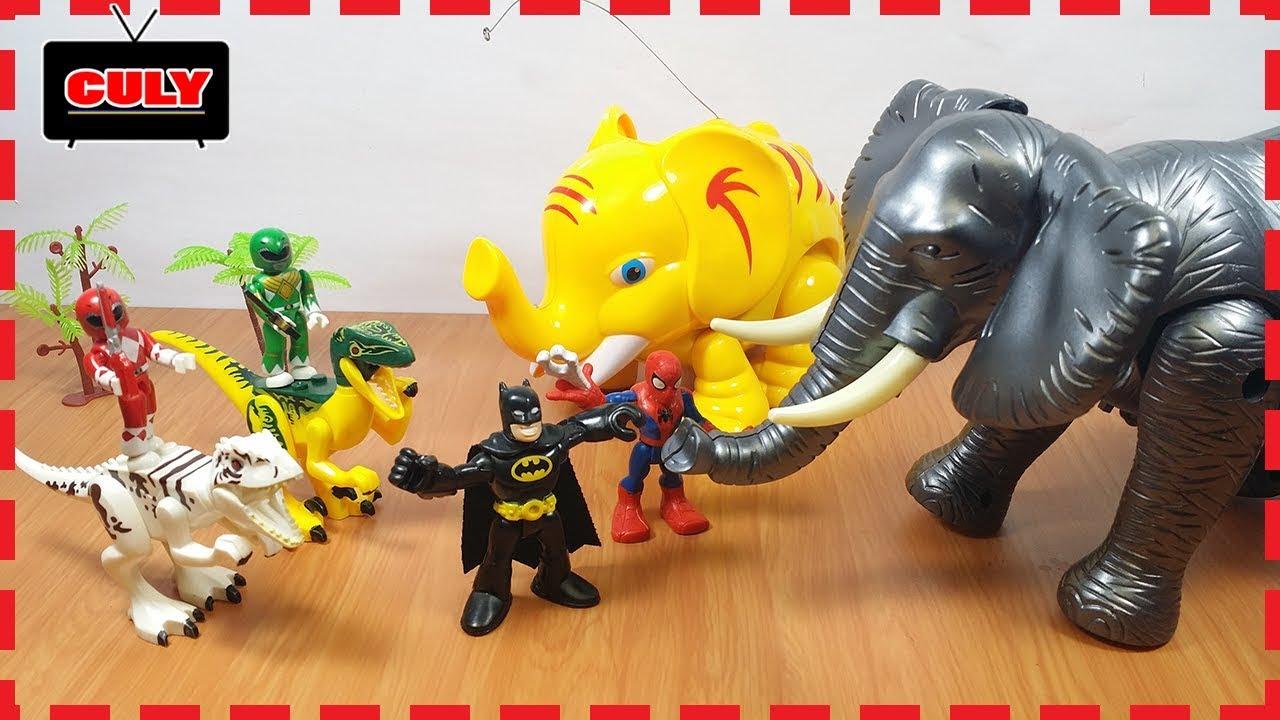 2 Anh em siêu nhân tí hon đi bắt con voi khổng lồ - Đồ chơi trẻ em