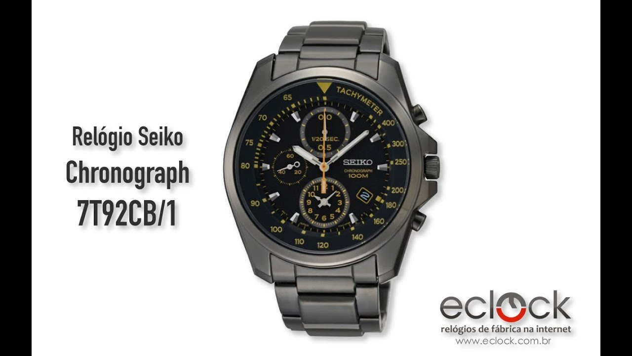 5c072e3fecc Relógio Seiko Masculino Chronograph 7T92CB 1 - Eclock - YouTube