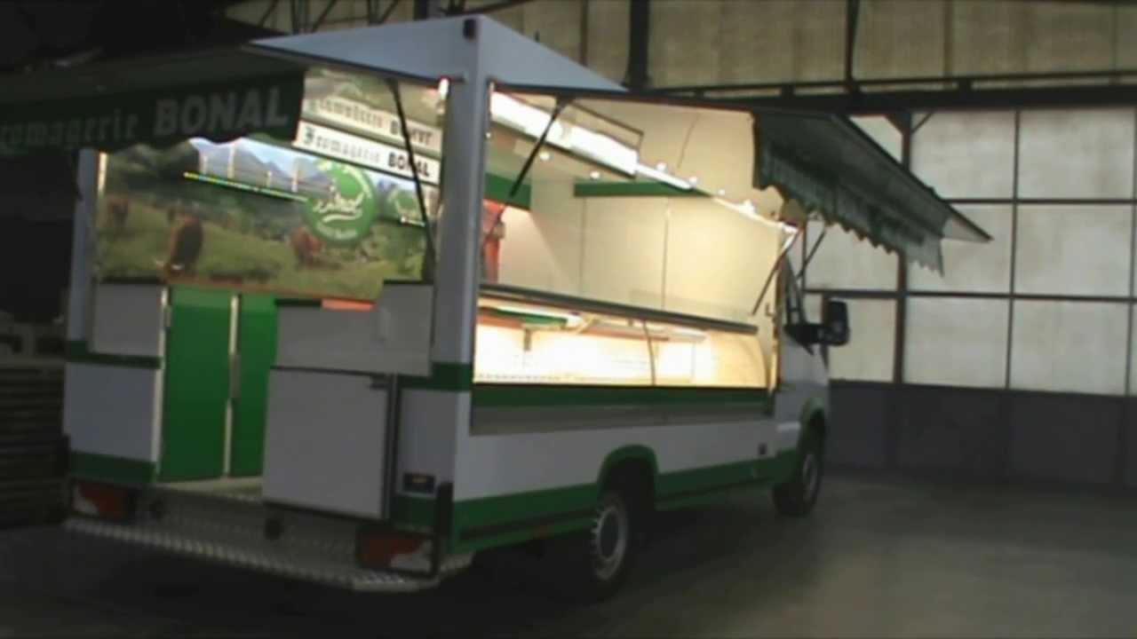 camion magasin avec vitrine sortante pour march youtube. Black Bedroom Furniture Sets. Home Design Ideas