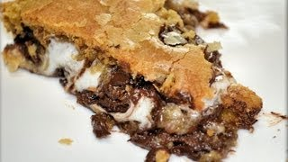 How To Make Chewy Smores Cookie Bar, Pizza Cookie  (like Bj's Pizookie) - Cookwithapril