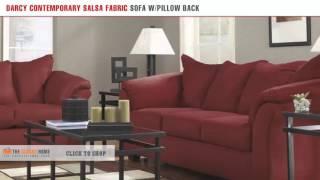 Ashley Furniture Darcy Contemporary Salsa Fabric Pillow Back Sofa