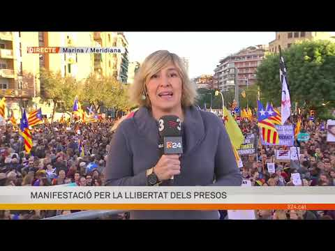 Broadcast for TV3 public television of catalonia of the demonstration for freedom Catalan political