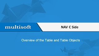 NAV C Side Table and Table Objects Training Video | Multisoft Virtual Academy
