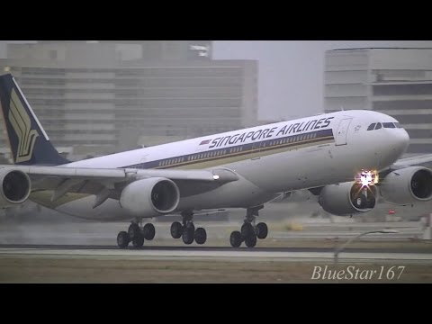 Singapore Airlines Airbus A340-500 (9V-SGD) landing at LAX/KLAX (Los Angeles) RWY 24R