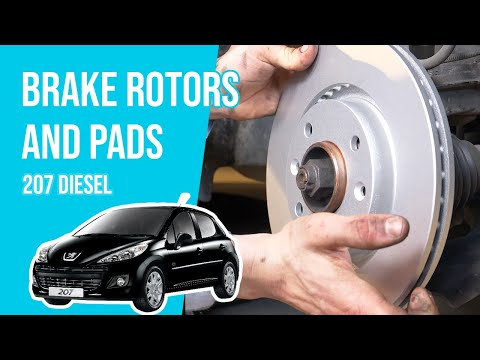 How to replace the front brake rotors and pads PEUGEOT 207 1.4 HDI🚗