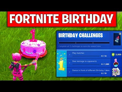 FORTNITE BIRTHDAY CHALLENGES - DANCE IN FRONT OF DIFFERENT BIRTHDAY CAKES, BACK BLING