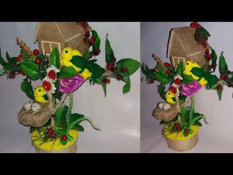 how to make bird nest with jute||bird nest showpice|wollen bird making||dustu pake|