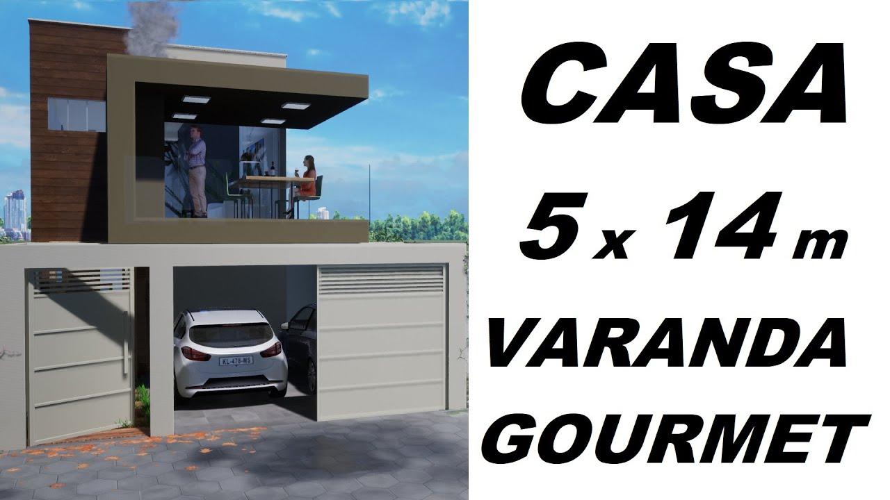 Download CASA PEQUENA DE 5 x 14 - COM VARANDA GOURMET