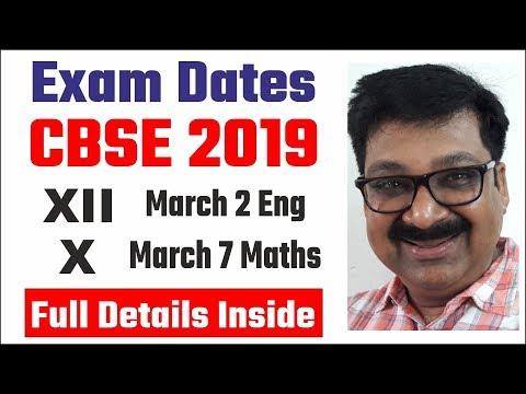 CBSE Board Exam 2019 Date Sheet, CBSE Class 12 date sheet 2019, CBSE Class 10 date sheet 2019