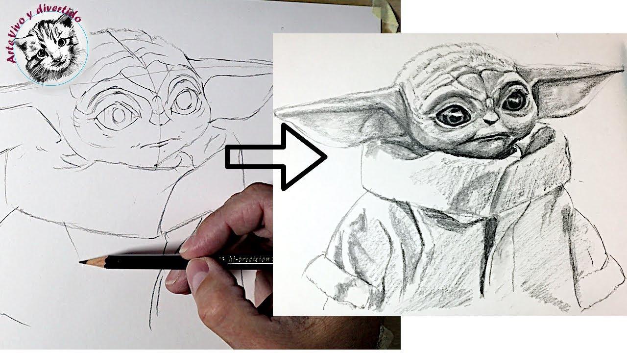 Como Dibujar a Baby Yoda con UN SOLO Lápiz / Tips de Dibujo de Retratos!