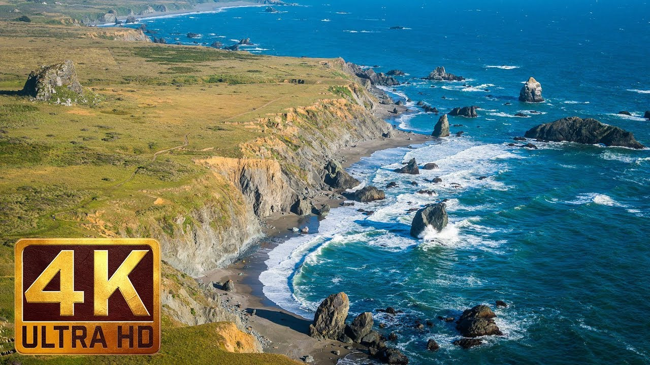 New Version 1 5 Hours - 4K Beach Relax Video with Ocean Wave Sounds    Sonoma Coast State Park