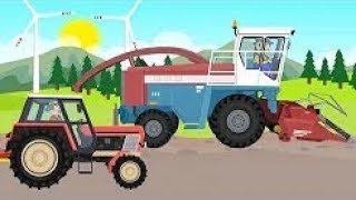 Tractor - Farm Work | Corn Machine Cutting | Fairy Tales Tractors - Tractors And Maize Machine