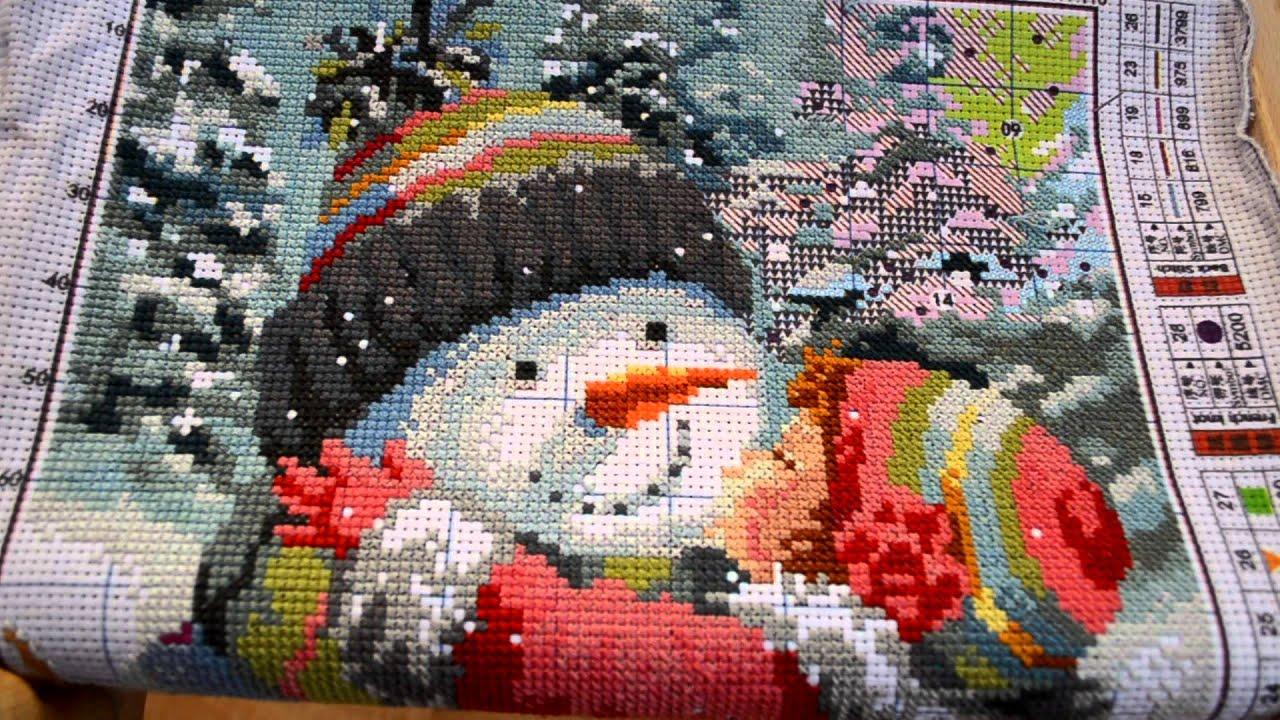 Вышивка с алиэкспресс поцелуй снеговику отшив