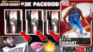 PINK DIAMOND KEVIN DURANT PACKS ARE JUICED WITH SO MANY PINK DIAMOND PULLS IN NBA 2K19 MYTEAM