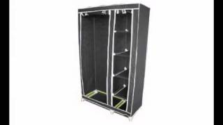 Designer Habitat - Double Canvas Effect Wardrobe Clothes Rail Storage In Black.avi